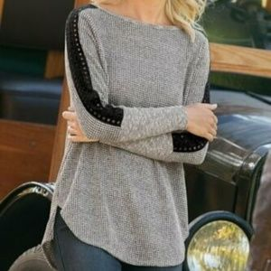 Soft Surroundings Gray Black Lace Knit Sweater Top